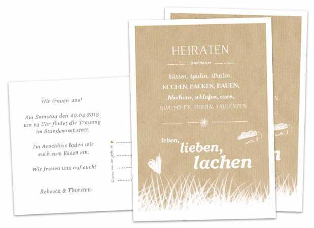 30-100 Hochzeitskarten Heiraten, und dann..., BEIGE, inklusive ...