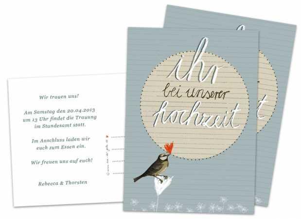 Hochzeitseinladungen - Ihr bei unserer Hochzeit - Blau - mit Vogel ...