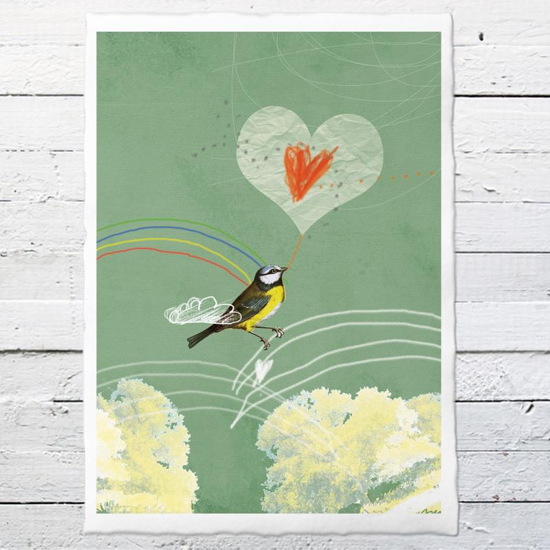 valentines vogel 25 druck auf b ttenpapier oder leinwand eine der guten papeterie. Black Bedroom Furniture Sets. Home Design Ideas