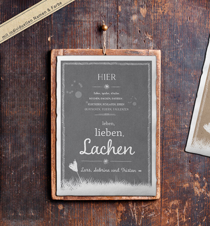 personalisiertes familienbild mit spruch f r hochzeit und. Black Bedroom Furniture Sets. Home Design Ideas