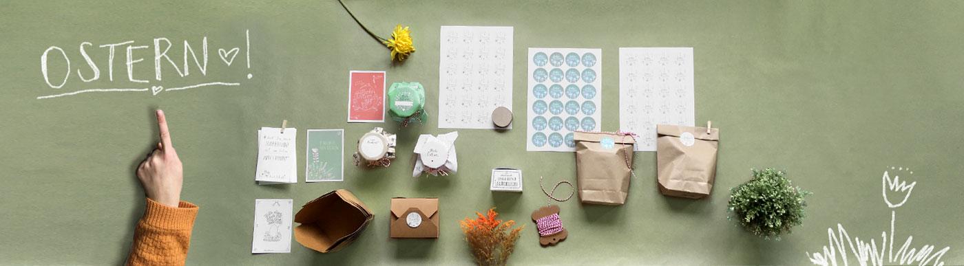 Ostergrußkarten Geschenkboxen Und Aufkleber Für Ostern