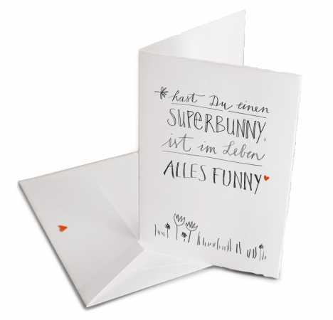 Lustige Osterkarte Superbunny Mit Umschlag Handlettering Design