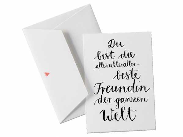 Du Bist Die Allerallerallerbeste Freundin Der Welt, Glückwunschkarte  Postkarte Für Die Freundin, Verlobte, Beste Freundin, Geburtstagskarte,  Grußkarte Als ...