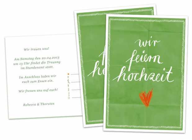 Hochzeitseinladungskarten wir feiern hochzeit - Grün - inklusive ...