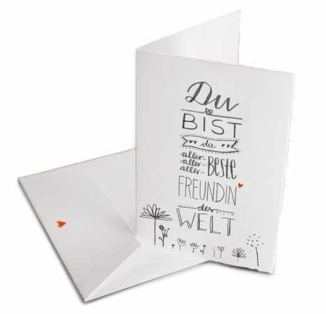 Glückwunschkarte Für Die Beste Freundin Der Welt   Valentinskarte Oder  Dankeschön Grußkarte Zum Valentinstag, Geburtstag, Klappkarte Aus Bütte