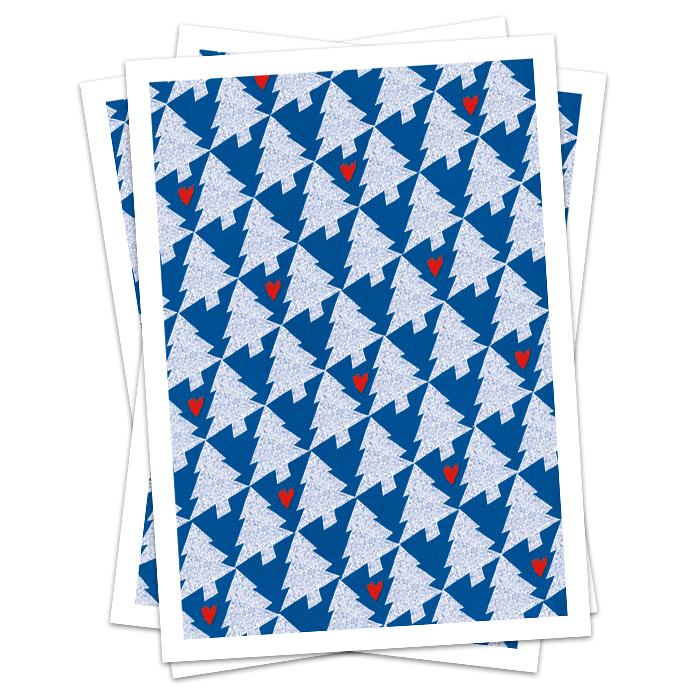weihnachtskarte tannenbaum blau mit herz rot designpostkarte f r weihnachten mit geometrischen. Black Bedroom Furniture Sets. Home Design Ideas