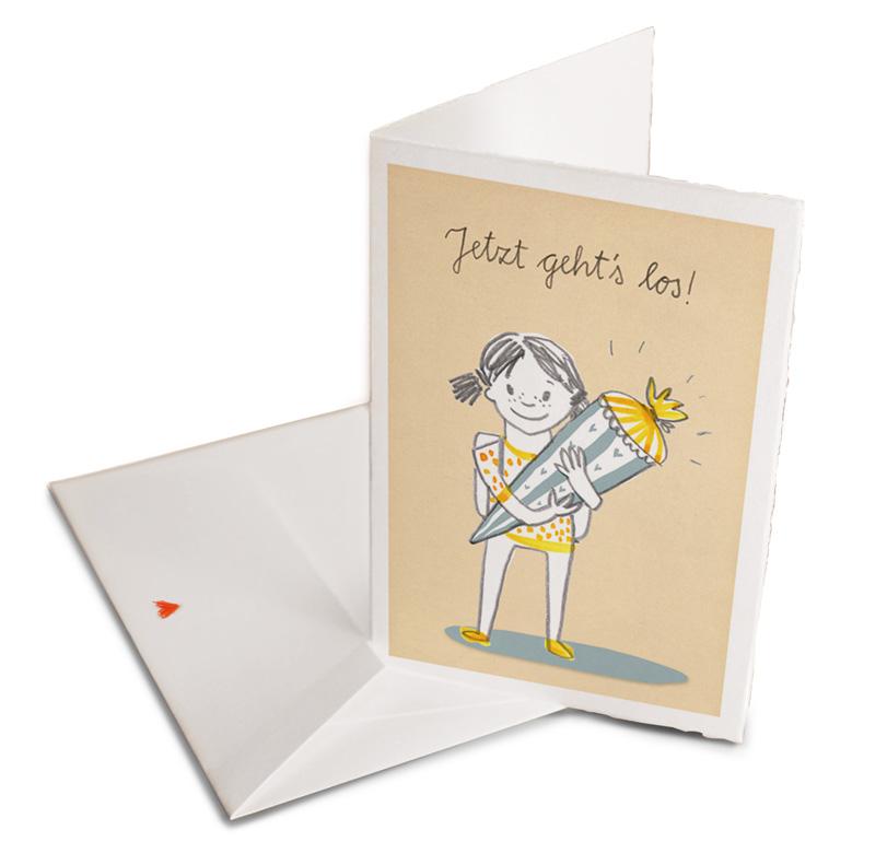 Karte Zur Einschulung.Glückwunschkarte Zur Einschulung Für Mädchen Retro Look Eine Der Guten