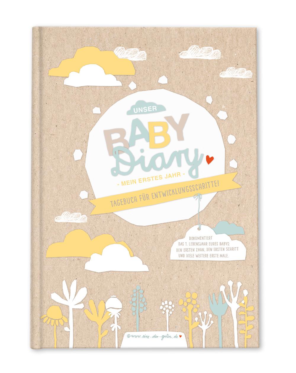 Hardcover Babytagebuch A5 Zum Eintragen Für Jungen Mädchen Beige