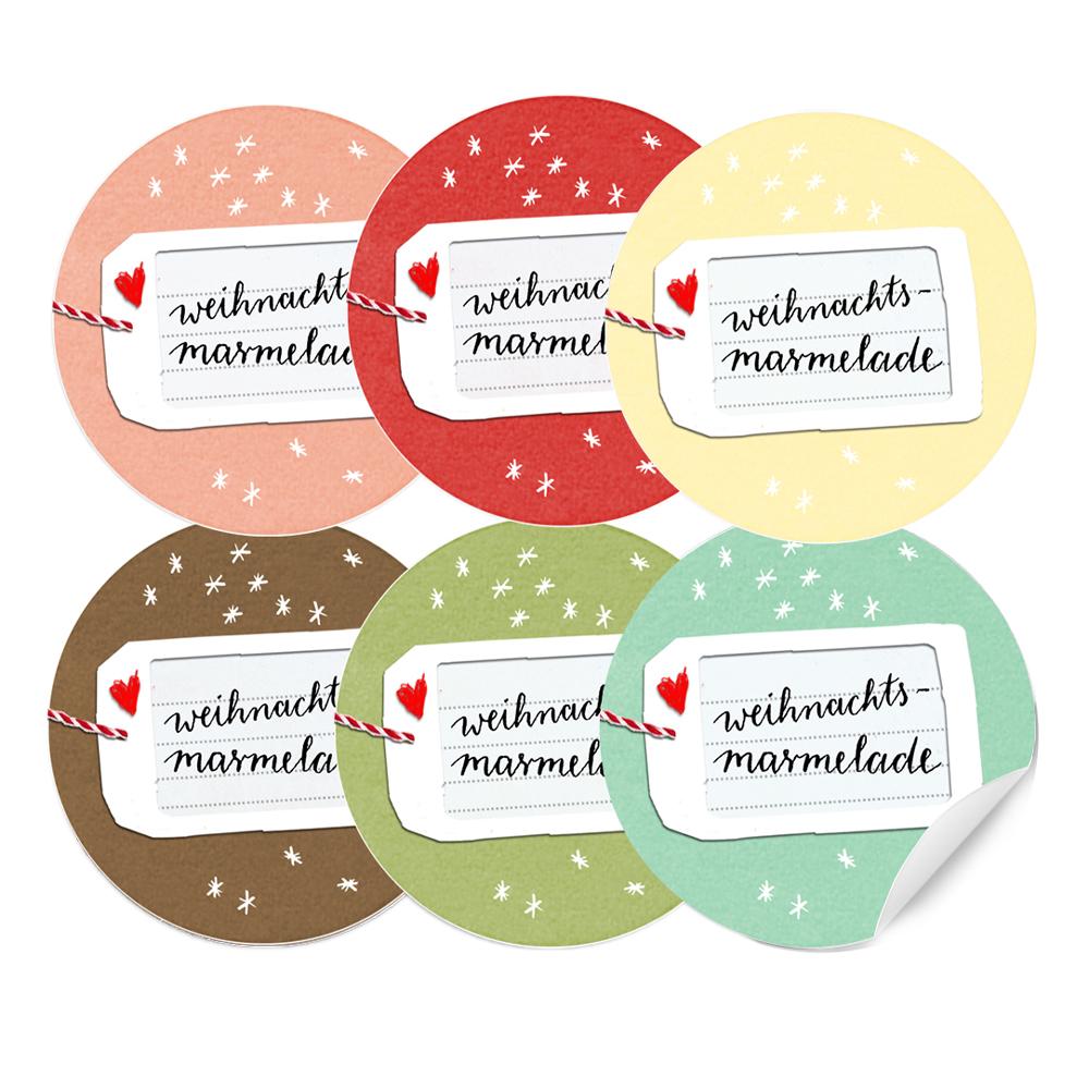 24 Farbige Aufkleber Für Weihnachts Marmelade 40mm Matt