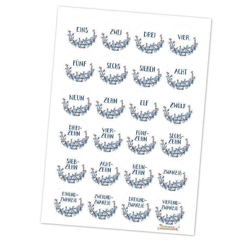 24 Adventskalenderzahlen In Weiß Zum Adventskalender Basteln