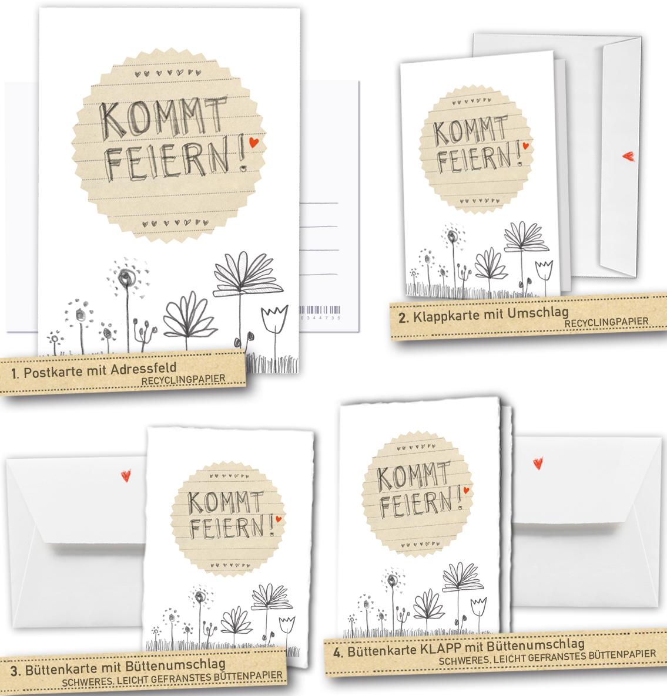 Hochzeitseinladungen Kommt Feiern In Weiss Grau Beige Mit Blumen