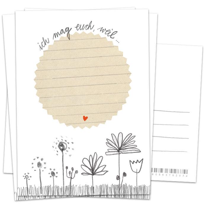 Hochzeitsspiel: Ich mag euch, weil-Postkarten, 3-100