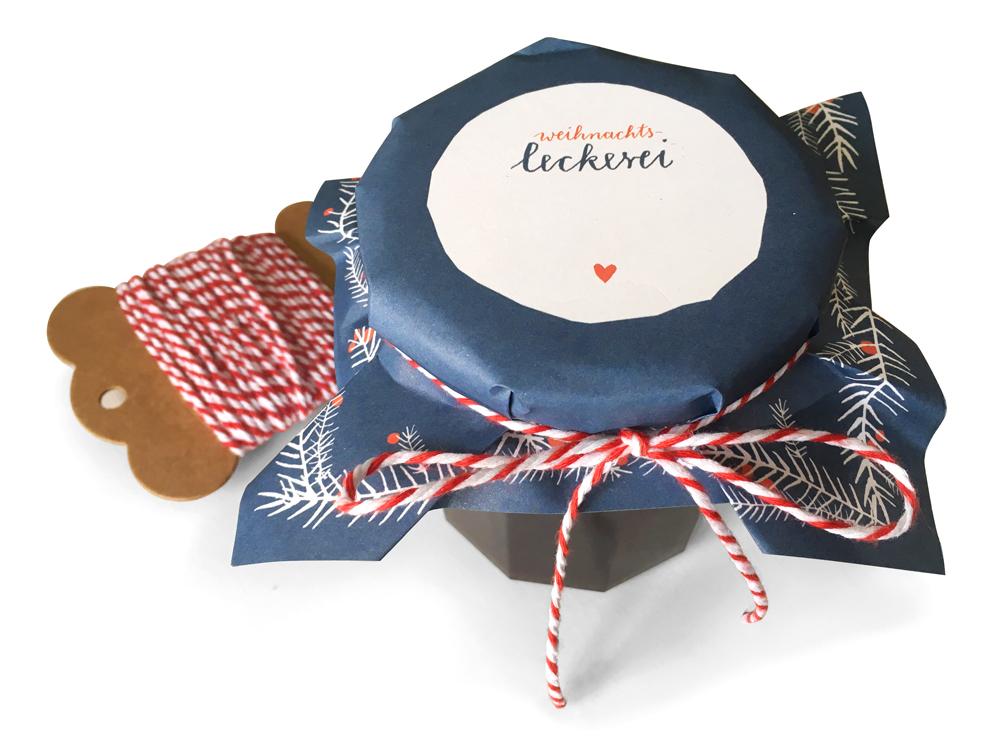 25 blaue Marmeladendeckchen für Weihnachten als Abreißblock - EINE ...