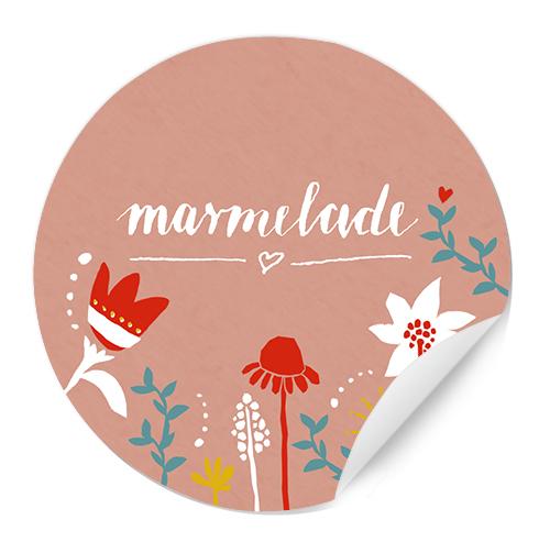 Runde Marmeladenetiketten Vintage Blumen Design Rosa Weiß