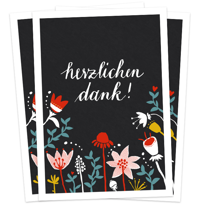 Originelle Dankeskarten Aus Recyclingpapier Mit Fröhlichen