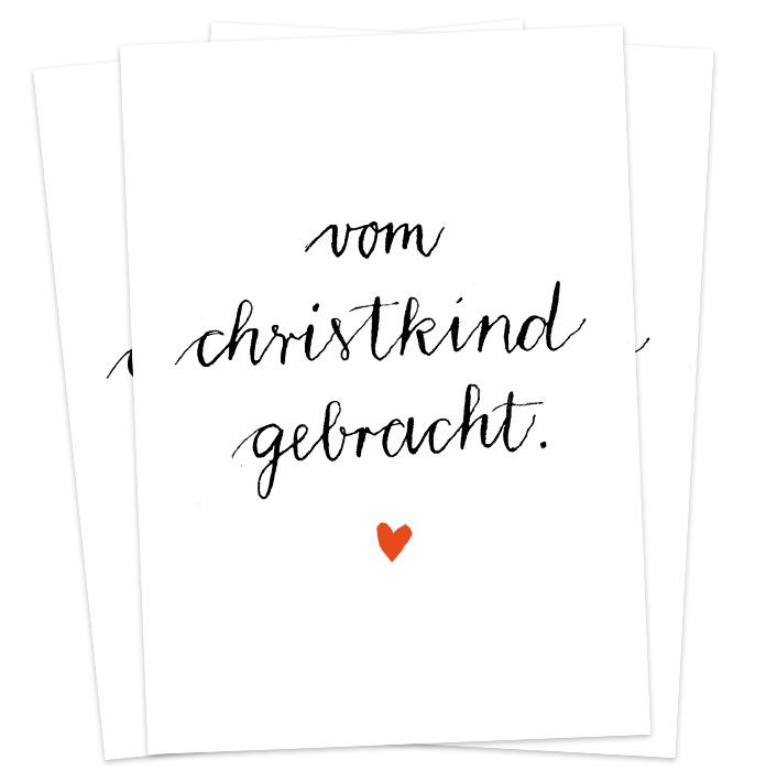 Weihnachtsgrüße Christkind.Christkind Postkarten Kalligrafie Handlettering Design Weiß Eine