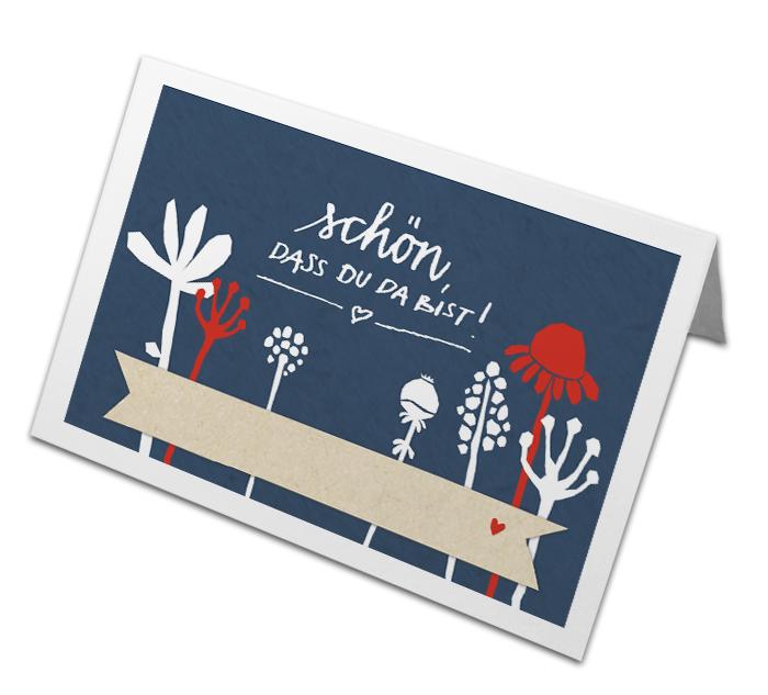 Retro Tischkarten Scherenschnitt Design Blumen Blau Weiss Rot