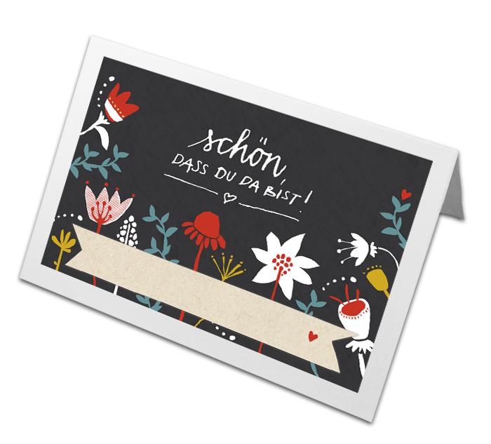 Retro Tischkarten Folklore Design Mit Blumen Schwarz Bunt Eine