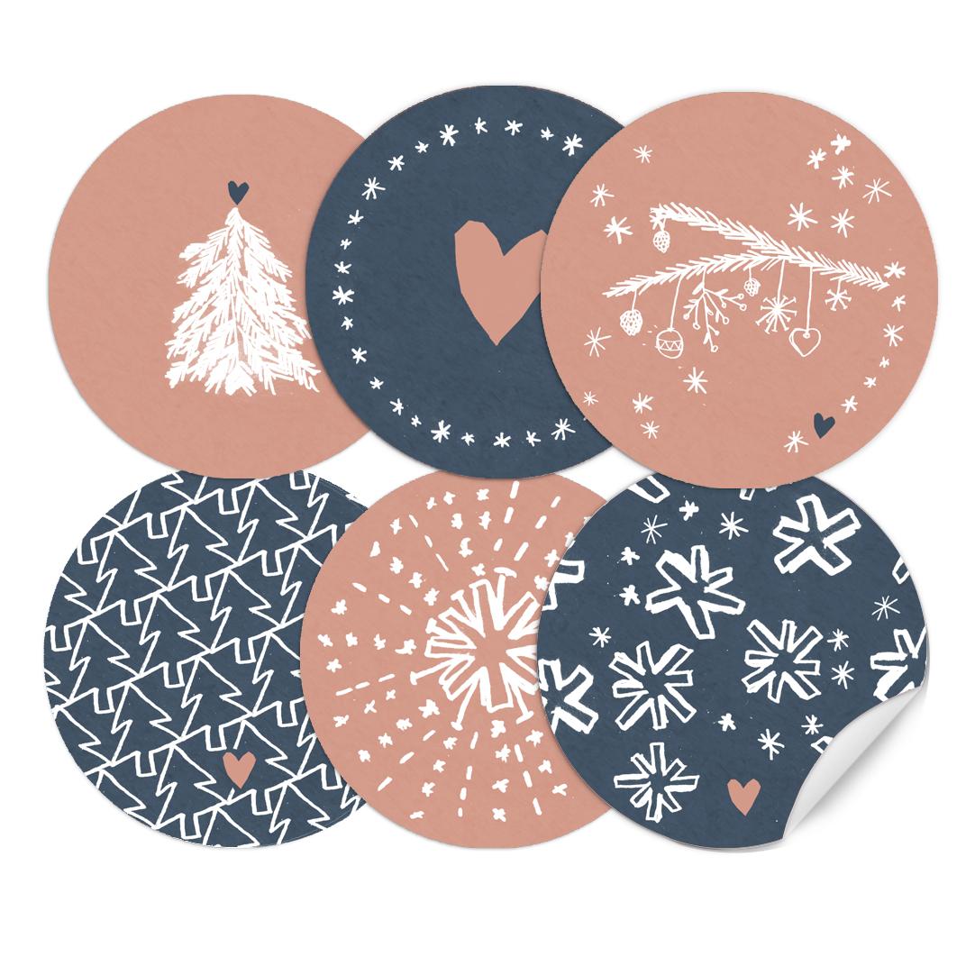 24 gemischte weihnachstetiketten als weihnachstdeko rosa - Weihnachtsdeko blau ...