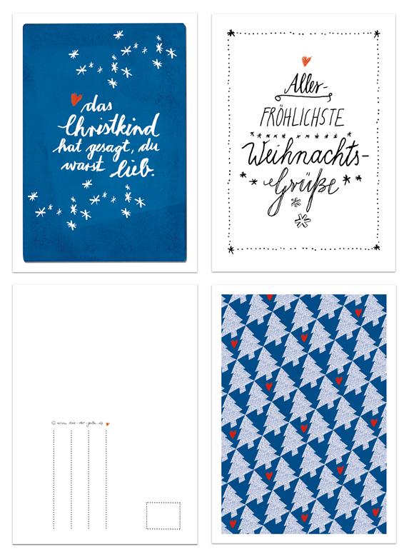 12 weihnachtskarten mit 3 motiven im kalligrafie design. Black Bedroom Furniture Sets. Home Design Ideas