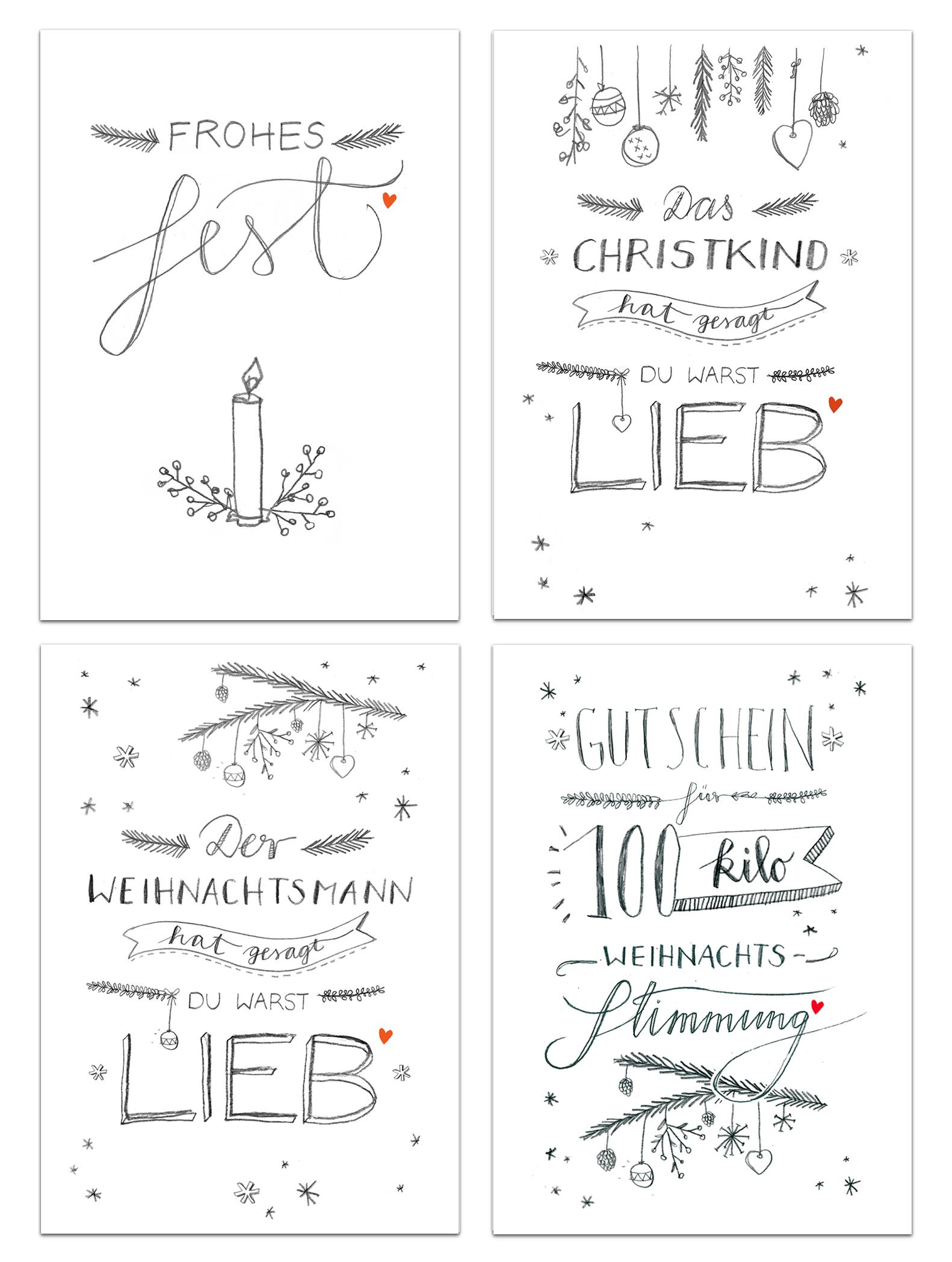 12 Weihnachtskarten mit 4 Motiven im Handlettering Design. | EINE ...