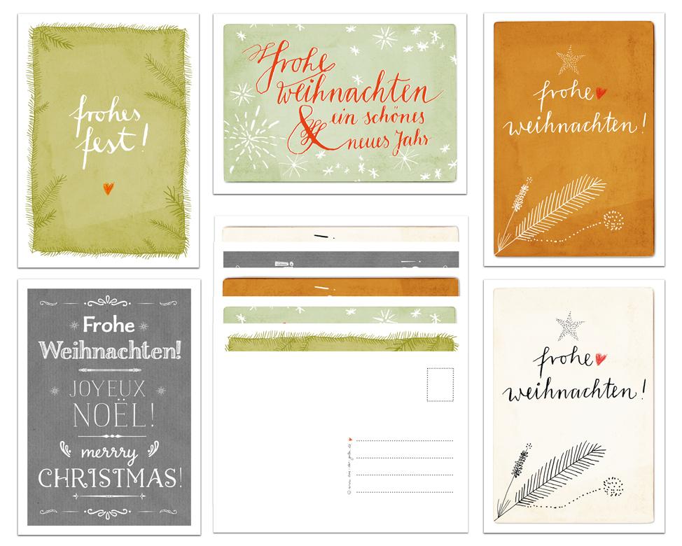 Weihnachtsgrüße Klassisch.10 Weihnachtskarten Mit 5 Motiven Im Kalligrafie Design Eine Der