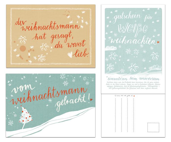 12 witziges weihnachtskarten mit 3 motiven in beige blau. Black Bedroom Furniture Sets. Home Design Ideas