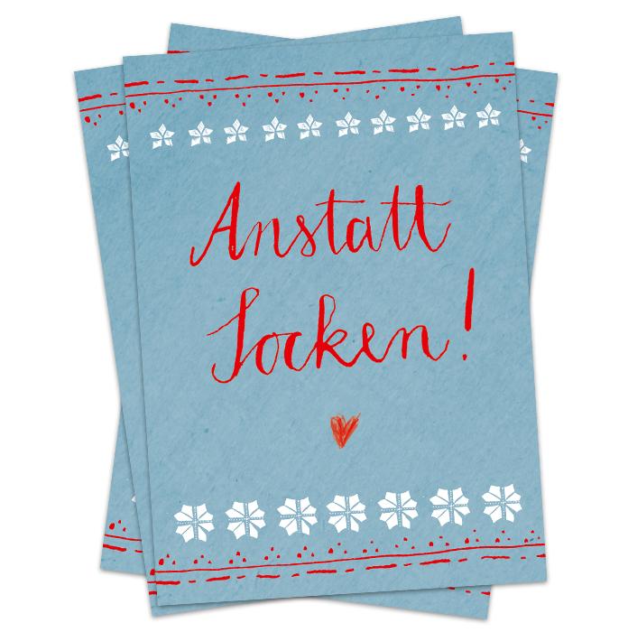 weihnachtskarte anstatt socken postkarten im blau rot skandinavien design 3 100 st ck. Black Bedroom Furniture Sets. Home Design Ideas