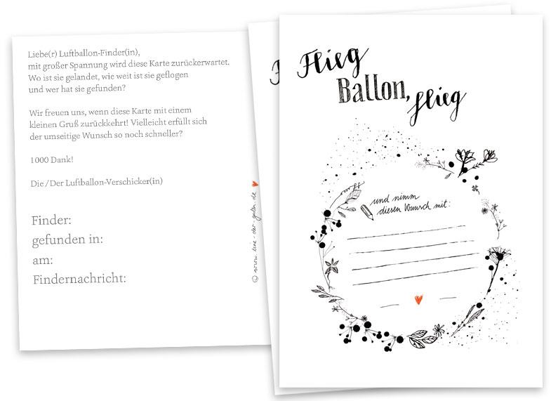 Ballonflugkarten Schwarz Weiß für Hochzeit, Hochzeitsspiel ...