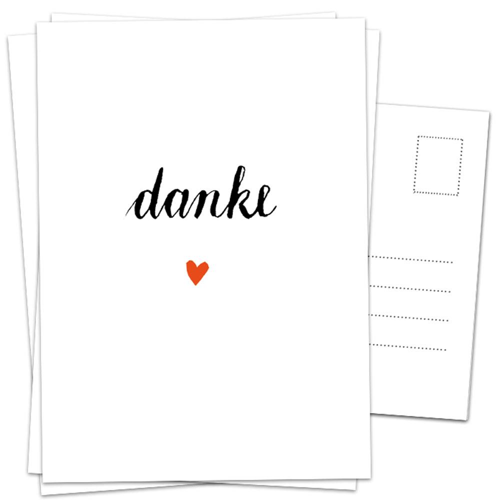 Dankeskarten Danke Mit Herz Weiß Schwarz Kalligrafie