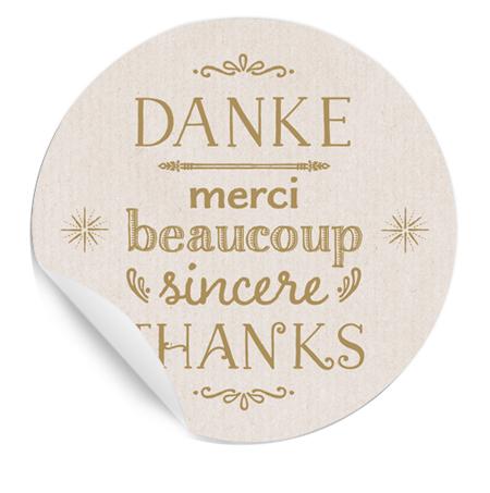 danke,merci beaucoup, thanks; 24 geschenk-sticker, rund, creme, Einladung