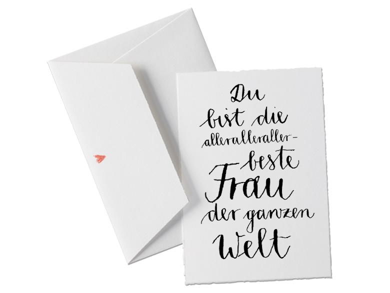 Du Bist Die Allerallerallerbeste Frau Der Welt, Glückwunschkarte Postkarte  Für Die Ehefrau, Verlobte, Freundin, Geburtstagskarte, Grußkarte Als  Dankeschön, ...