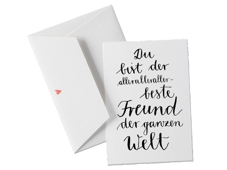 Du Bist Der Allerallerallerbeste Freund Der Ganzen Welt, Spruch  Glückwunschkarte Postkarte Für Den Freund, Valentinstagskarte Oder  Allgemeine Grußkarte Als ...