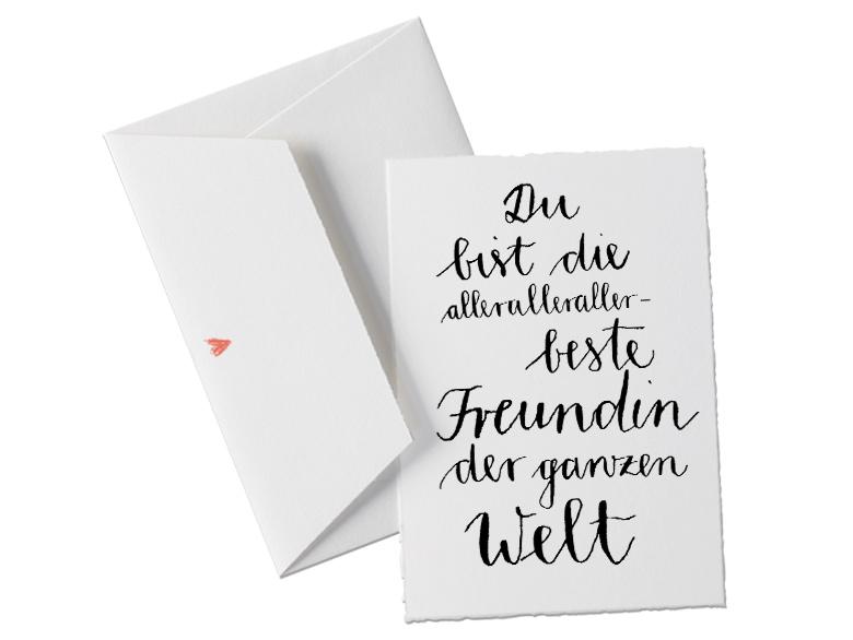 b ttenkarte in sch nem design kalligrafie schwarz wei f r freundinnen frauen karte mit. Black Bedroom Furniture Sets. Home Design Ideas