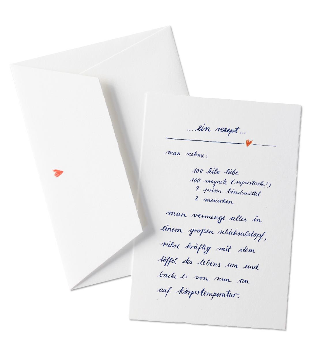 Grußkarte Zum Valentinstag   Ein Rezept Für Die Liebe   Valentinskarte Aus  Büttenpapier Mit Umschlag