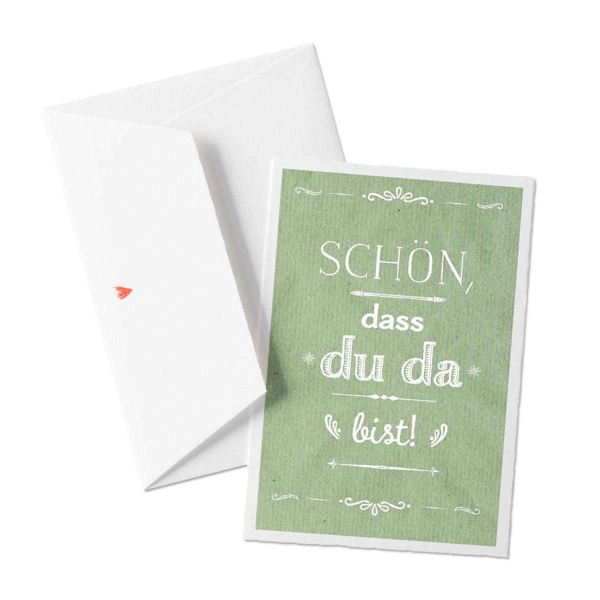 Schön Dass Du Da Bist Grußkarte Auf Bütte Mit Umschlag Zum