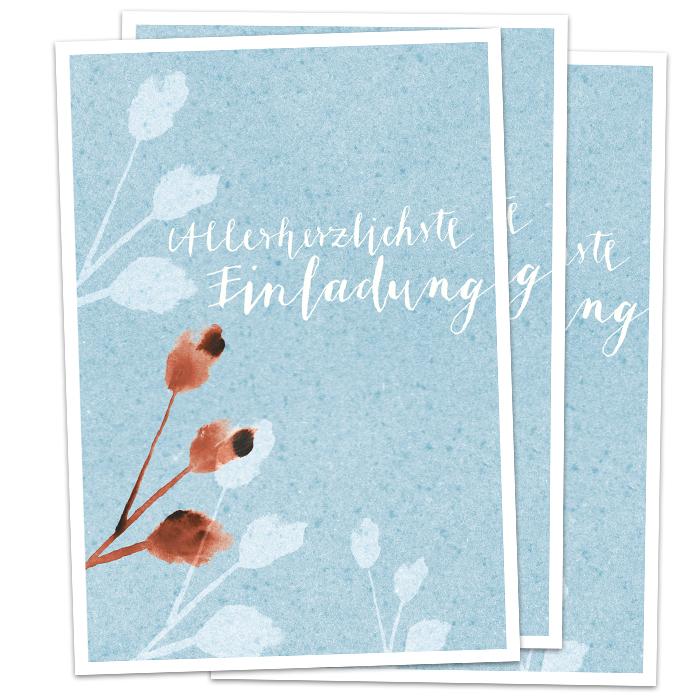 3 100 Postkarten   Allerherzlichste Einladung   Hellblaue Einladungskarten  Für Deine Party Oder Geburtstagseinladung