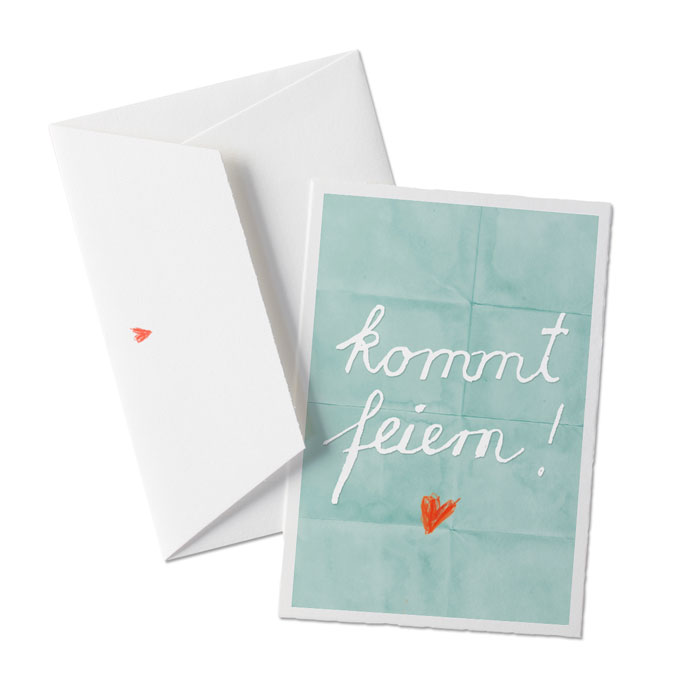 Einladung Geburtstag, Hochzeit Oder Party Türkis Auf Büttenpapier