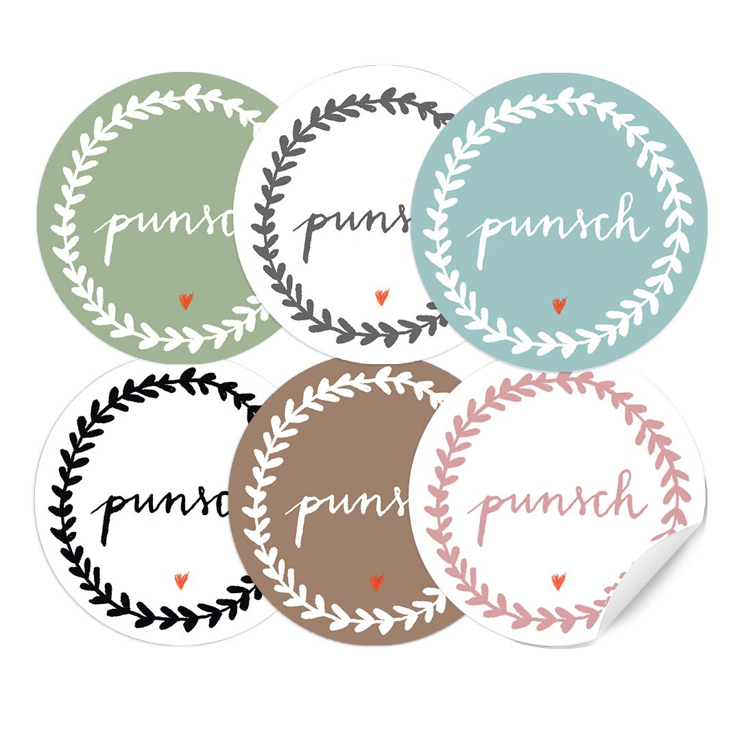 24 Pastellfarbene Punsch Etiketten, RUND, 40mm - EINE DER GUTEN ...