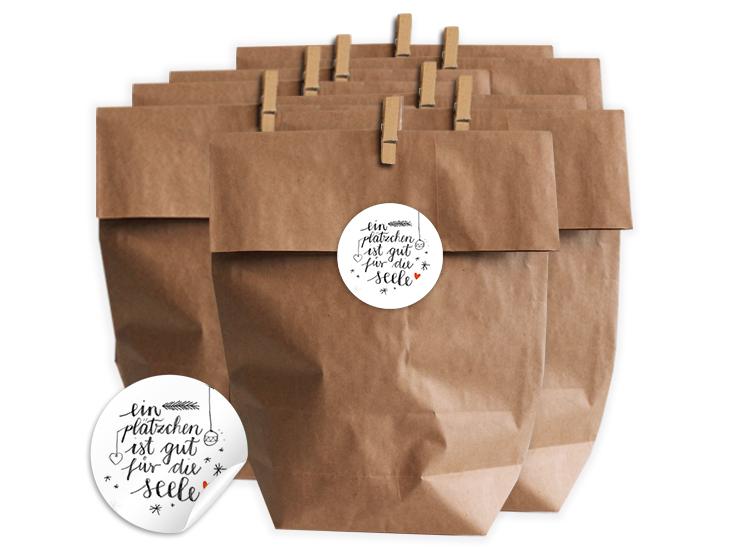 Weihnachtsgebäck Verpacken.Geschenktüten Set Für Plätzchen Mit Witzigen Spruch Etiketten Eine
