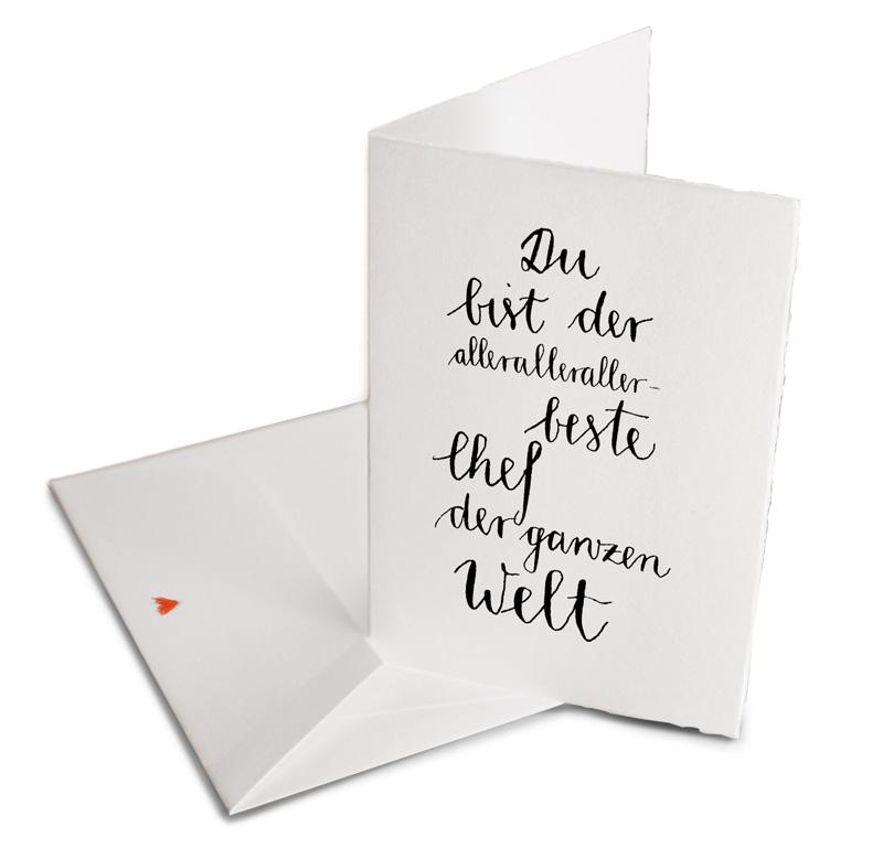 Bester Chef Der Welt Gluckwunschkarte Dankeskarte Buttenpapier