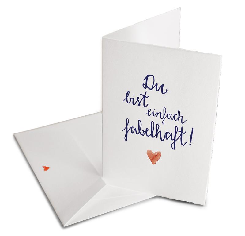 Du bist einfach fabelhaft - Grußkarte Büttenpapier Umschlag - EINE ...
