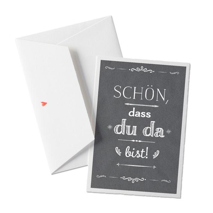 Schön Dass Du Da Bist Grußkarte Auf Bütte Mit Umschlag