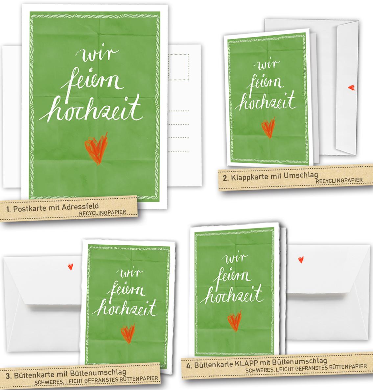 30 100 Hochzeitskarten Wir Feiern Hochzeit Grun Inklusive
