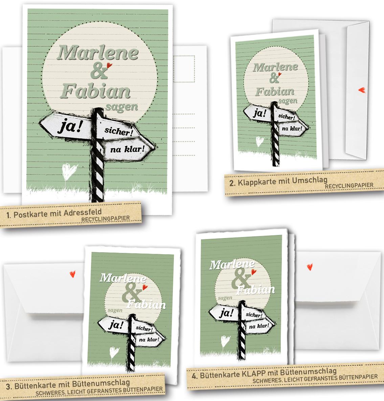 30 100 Einladungskarten Für Die Hochzeit   Ja! Sicher! Na Klar! Schild  Design   Grün   Mit Individuellem Text Auf Der Rückseite, Ab 35, U20ac, ...