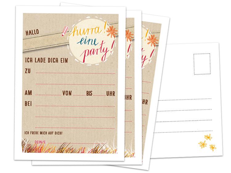 Hurra   Eine Party! Einladungskarten Set Zum Selbst Ausfüllen Für Den  Kindergeburtstag, Die Kinderparty Oder Zur Einschulung!