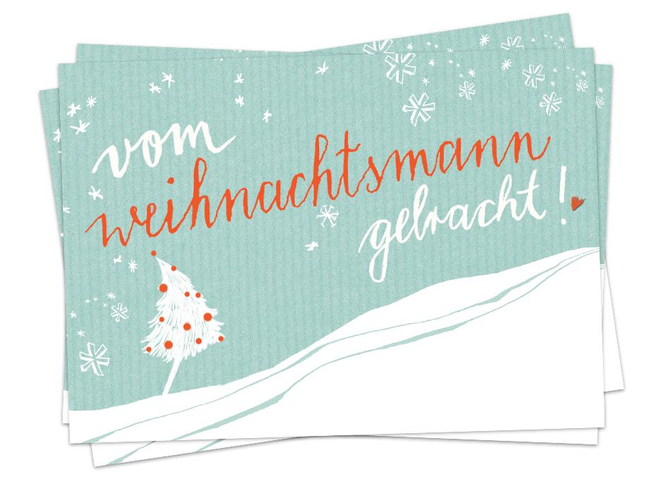 Weihnachtsgrüße Als Tannenbaum.Weihnachtskarte Vom Weihnachtsmann Gebracht Witzige