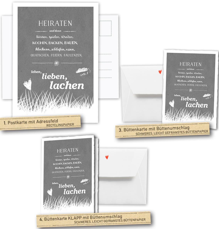 Hochzeitseinladungskarten Heiraten und dann... - Grau - inklusive ...