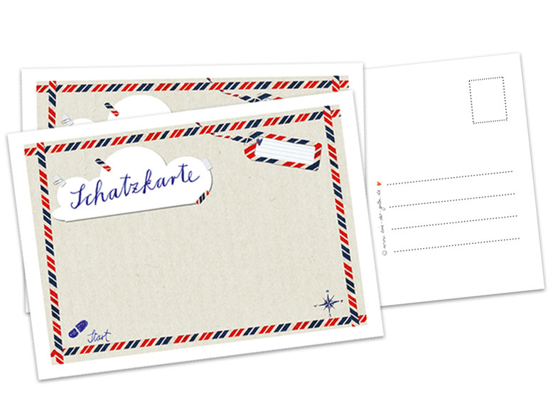Schatzkarte Als Postkarte Für Schatzsuche, Kindergeburtstag, Hochzeit,  Partyspiel, Hochzeitsspiel, Piratengeburtstag, Als Einladung Oder Zu Ostern