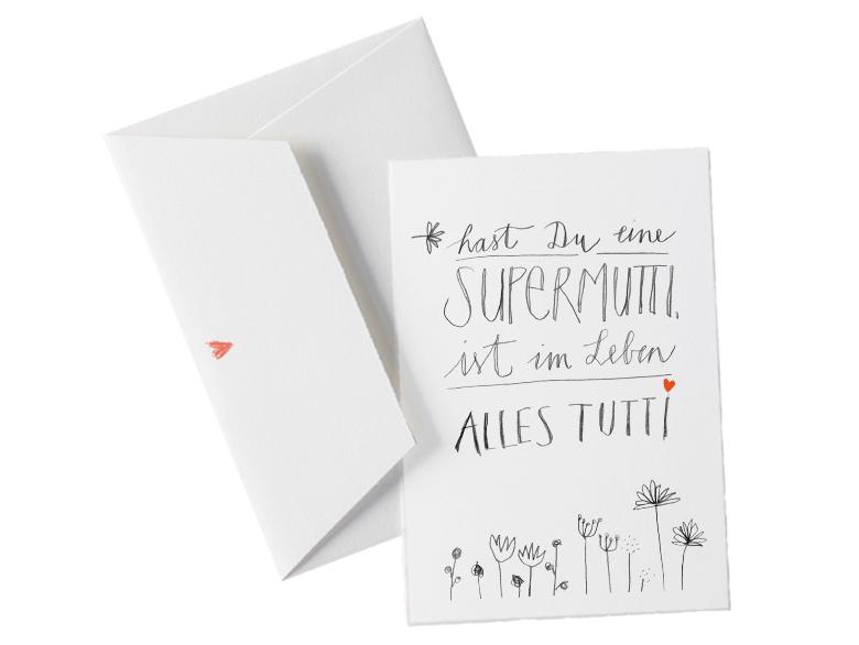 Muttertag Karte.Muttertagskarte Mit Umschlag Hast Du Eine Supermutti Grußkarte Zu